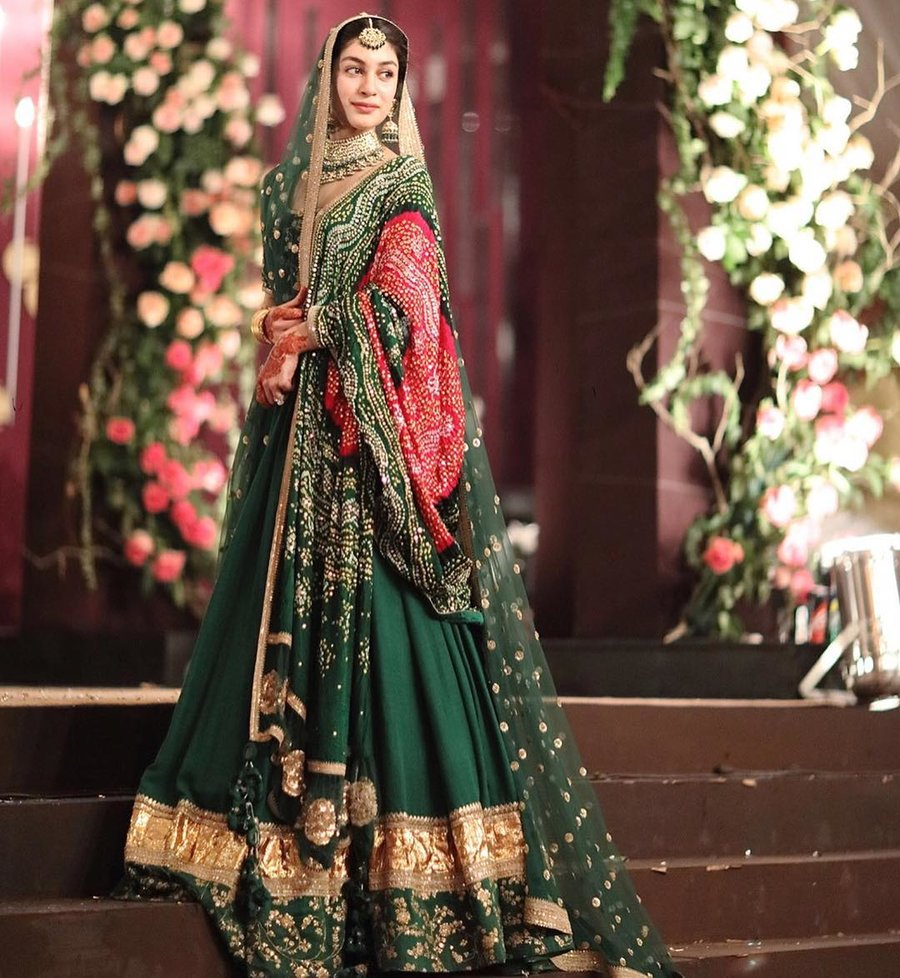 Heavy Dark Green Lehenga Design